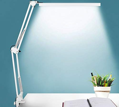 Lampe de Bureau LED, BZBRLZ Lampe de Table Architecte Pliable avec Clamp, Luminosité infinie réglable, Lampe de table dimmable Attentionnée, 3 Modes de Couleur, Commande à un Bouton